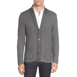Vince Camuto Ribbed Slim Shawl Collar Cardigan